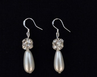 Pearl Drop Sterling Silver Bridal Earrings
