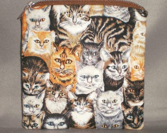 Cats - Tabby - Siamese - Coin Purse - Gift Card Holder - Card Case -Small Padded Zippered Pouch - Mini Wallet