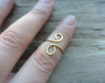 Brass Wire Midi Ring- Boho Sprial Mid Finger Ring- Wire Unique Accessory Handmade