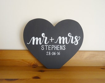 Mr and Mrs Standing Heart- Hand Lettered Sign