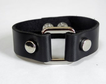 Black Leather Cuff Leather Bracelet with Rectangle Metal Silver Tone