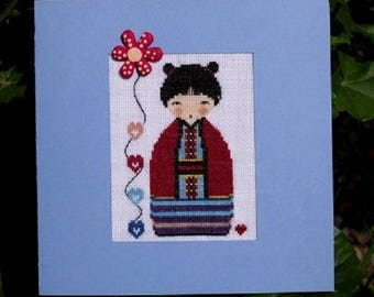 Hand embroidered card: beautiful kokeshi with fleur - birthday or mother's day