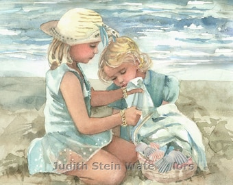 """Sisters, Friends, Girls on Beach, Seashore, Children Watercolor Painting Print, Wall Art, Home Decor, """"Beach Blanket Party"""""""