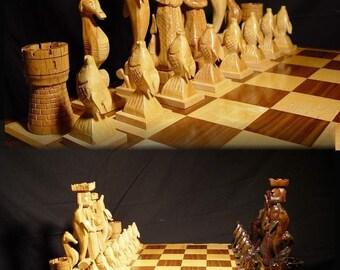 Chess Set Handmade Atlantis Chess Set on etsy, handcarved   custom chess sets, custom chess pieces, and custom chess boards