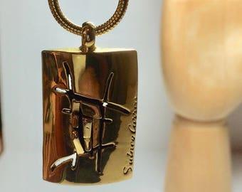 Vintage French Designer Modernist Brutalist Necklace