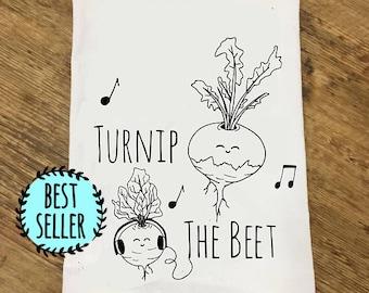 Funny Tea Towel ~ Turnip The Beet ~ Vegetable Pun Lovers << Turn Up The Beat >> Funny Kitchen Cloth, Vegetable, Vegan Pun, Dish Cloth