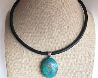 "Southwestern Signed Sterling Silver Turquoise Pendant Leather Necklace, Turquoise Necklace, Southwestern Necklace, Leather Necklace, 16""-18"""