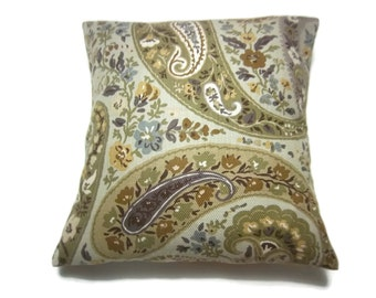 Decorative Pillow Cover Paisley Print Heavy Woven Cotton Olive Green Orange Rust Blue Taupe Yellow Gold Toss Throw Accent 18x18 inch x