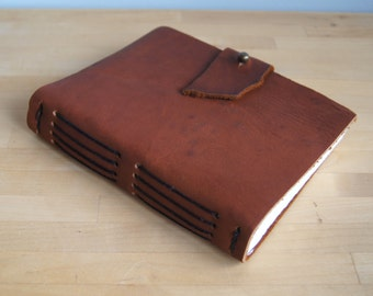 "Leather Journal -- Auburn, Black Thread, 5"" x 6.5"" Cotton Pages, Father's Day, Leather Journal"