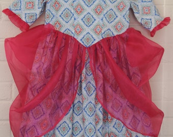 Size 5-6 Ready to Ship! Colonial Princess Birthday Dress Costume Blue Pink Diamonds Unique