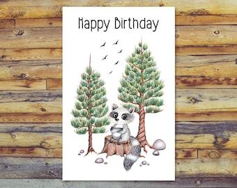 Printable Birthday Card, Raccoon Birthday Card, Digital Download, Instant Download, Cute Raccoon Art, Blank Greeting Card, Digital Printable