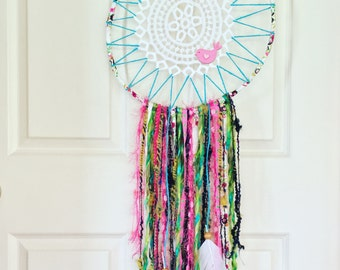 Colourful Dreamcatcher, Vintage Dreamcatcher, Boho Dreamcatcher, Doily Dreamcatcher, Dreamcatcher, Bedroom Decor, Nursery Decor