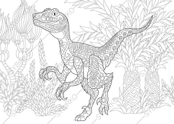 Velociraptor Dinosaur. Raptor. Dino Coloring Pages. Animal