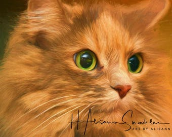 Affordable Custom Cat Portraits - You send me your Photos - I create the portrait of your kitty