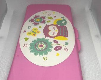 Custom name, pink owl diaper wipe case