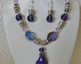 Beautiful Purple, Silver and Crystal  Necklace with Earrings. One of a kind and handmade