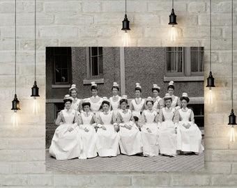Old Providence RI Hospital Photo, Nurses, Historical Providence, Nurse Photos, Providence, Rhode Island Wall Decor, Home Decor, Black White