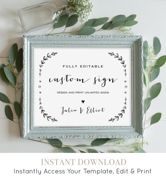 Custom Wedding Sign Template, Printable, Fully Editable, Create Unlimited Signs, Vintage Laurels, Instant Download 5x7 & 8x10 #031-103CS