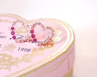 Heart earrings, flower earrings, harajuku style, korean earrings