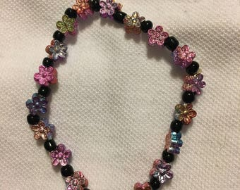 Multicolored Flower Beaded Stretchy Bracelet, Stackable Jewelry