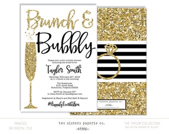 Black and Gold Brunch and Bubbly Bridal Shower Invitation - Gold Glitter Brunch & Bubbly Invitation - TAYLOR Collection - Printable File