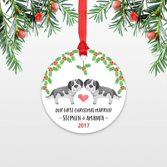 St Bernard Dog Personalized First Christmas Ornament Couple Our First Christmas Engaged 1st First Christmas Married First Christmas Together