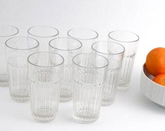 Tumblers, clear glassware, ribbed detail, Anchor hocking, Juice glasses set of 9, vintage tumblers, barware, highballs, pint glasses, libbey
