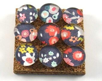 Push Pins  Cork Board Pins  Thumb Tacks in  Blue Floral (P17)