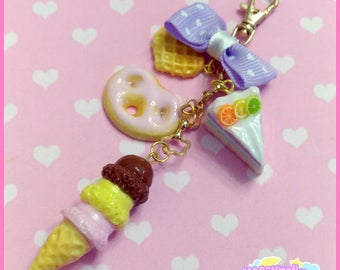 Pastel sweets charm keychain cute and kawaii