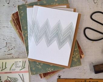 Green Chevron Letterpress Notecard