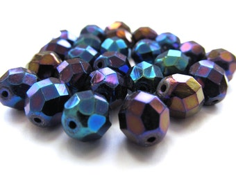 Blue Iris Faceted Czech Glass Round Beads, 8mm - 25 pieces