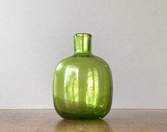 Mid Century Blenko Glass Bottle / Vase / Candle Holder - Meyers 6424 Green