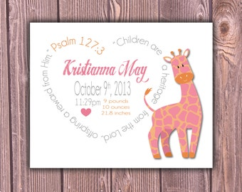 Giraffe, Personalized Birth Print, Baby Birth Print, Custom Birth Print, Birth Announcement Boy, Girl, Gift, Baby Gift