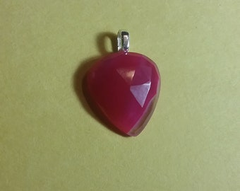 Pink Chalcedony rose cut gemstone pendant