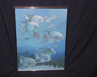 Vintage Angel Fish Acrylic Paints Blue Ocean or Sea Painting Beach or Nautical Decor