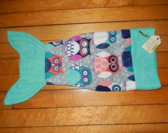 Handmade Fleece 18 inch doll Mermaid tale tail fin blanket Gary Owls with teal