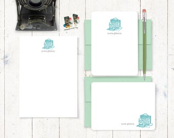 complete personalized stationery set - VINTAGE CAMERA - personalized stationary - note cards - notepad - letter writing set