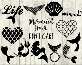 Mermaid SVG Bundle, Mermaid Tail SVG bundle, Mermaid cut file, Mermaid clipart, svg files for silhouette, files for cricut, svg, dxf, eps