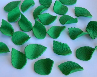 50 edible  ROSE LEAVES LEAF harvest trees season winter cake cupcake toppers decorations party wedding anniversary birthday