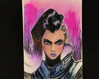 Original Watercolor card - Overwatch Sombra