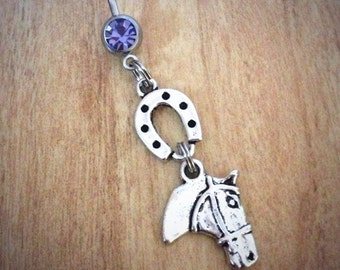 Horse belly ring horse lover equestrian horse horseshoe belly ring silver horse country girl belly ring country horseshoe naval ring lucky
