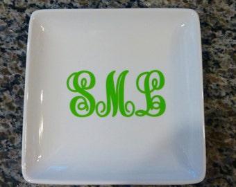 Large Personalized Monogram Jewelry Tray/ Personalized Monogram Gift/ Jewelry Tray