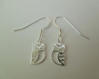 Sterling Silver 925 Owl Earrings