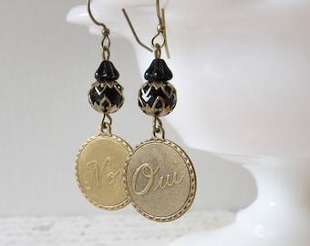 Oui/Non Dangle Earrings in Black, Brass // French, Art Deco