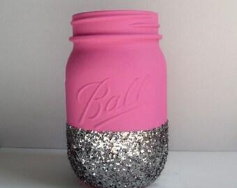 Hot Pink + Silver Glitter Mason Jar