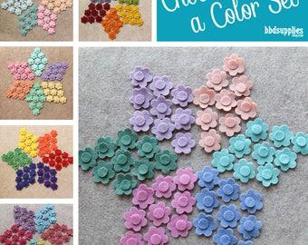 Wool Blend Felt Flowers   54 Tiny Flowers   Pick a Color Set   DIY   Unassembled Flowers