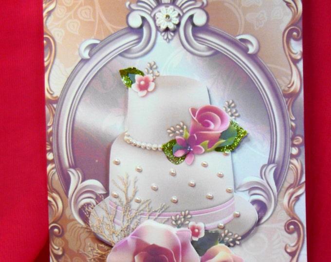 3D Decoupage Card, Wedding Day Card , Congratulations Card, Greeting Card, Wedding Cake, Pink Roses and Pearls