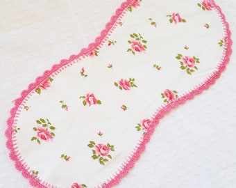 Handmade Baby Burp Cloth sewn from Vintage Bedsheet - crochet edge - flannel backed - pink roses floral - FREE SHIPPING