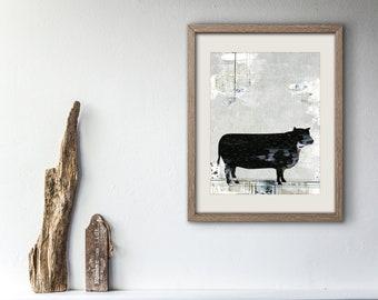 Downloadable Farm Animal Print - Instand Download Cow Print , Grey Printable Art,  Farmhouse Decor, Modern Art Digital Print and Cow Decor