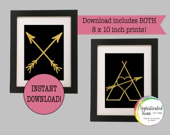 Black and Gold Arrow Print; Black and Gold Arrow Wall Decor; Gold Teepee Wall Decor; Black and Gold Printable; Gold Arrow Art Print
